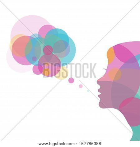 Colorful poster of abstract circles for decoration advertising of womens beauty and greeting cards for girls. Vector illustration