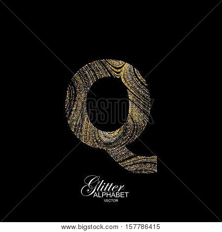 Letter Q of golden and silver glitters. Typographic vector element for design. Part of marble texture imitation alphabet. Letter Q with diffusion glitter lines swirly pattern. Vector illustration