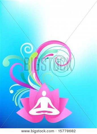 Sky blue yoga background with lotus and splash pattern