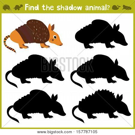 Educational games for children, cartoon for children of preschool age. Find the right shade for American Armadillo Armadillo. Vector illustration