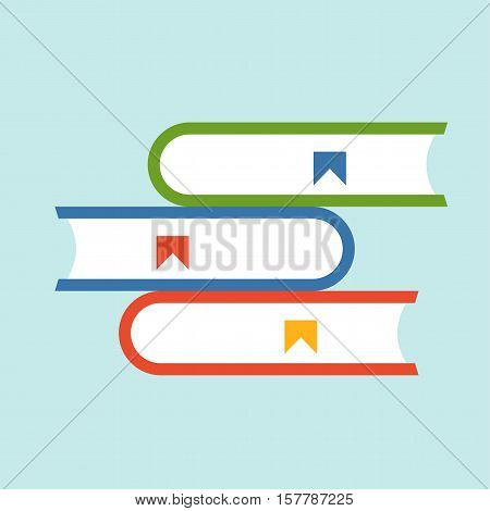 Books flat icon. Vector education library silhouette illustration. Concept education library. Colorful books icon for your design. Flat cartoon books isolated.