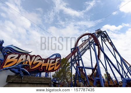 a Roller Coaster in a Theme Park
