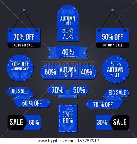 Autumn sale tag set  for the Black Friday period