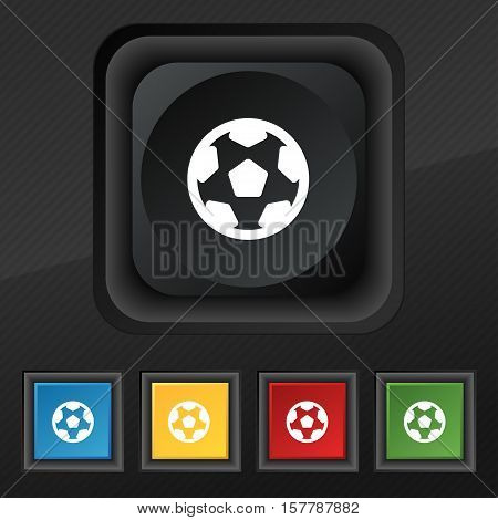 Football, Soccerball Icon Symbol. Set Of Five Colorful, Stylish Buttons On Black Texture For Your De