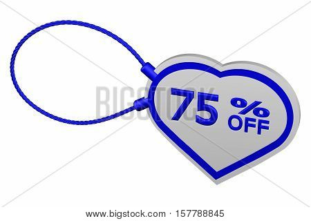 Heart tag with sign discount 75 % off isolated on white background. 3D rendering.