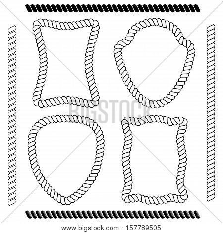 Set of isolated vector frames of rectangular shape and the shape of the shield simulating marine rope on a white background. Vector brushes imitating rope