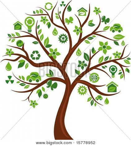 Green tree with many ecological icons and logos