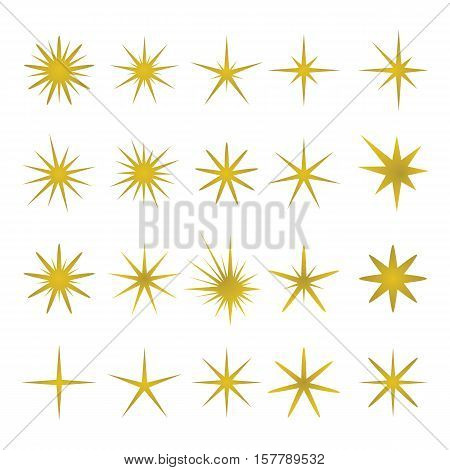 Vector illustration of golden sparks and sparks elements and symbols isolated on white background. The set of stars flares and golden flash effects