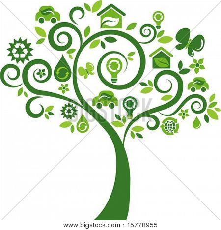 Green tree with many ecological icons