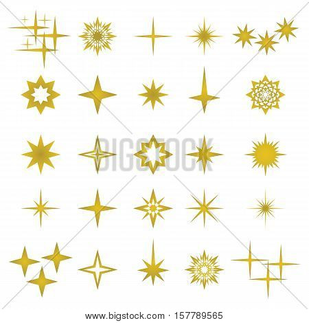 Vector illustration of golden sparks and sparks elements and symbols isolated on white background. The set of stars flares golden flash effects and explosion