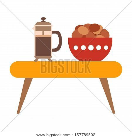 Coffee biscuit flat icon. Vector tea sweets silhouette illustration. Concept education library. Colorful Coffee biscuit for your design. Flat cartoon Coffee biscuit books isolated.