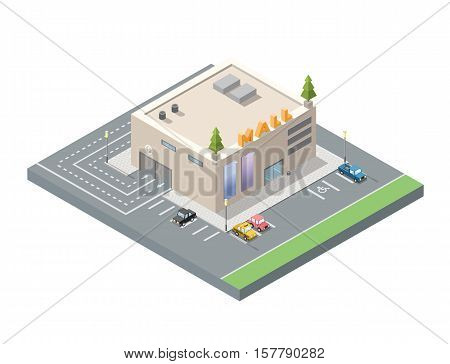 Vector isometric low poly mall, shopping centre with underground car parking, 3d flat design city element