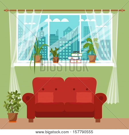 Colorful flat style illustration of window with curtains and flowers. Cartoon vector poster room interior window curtains with indoor plants.