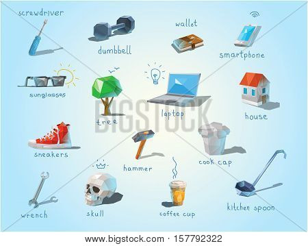 Vector polygonal set of different subjects, work end home devices, communications icons, low poly modern illustrations, repair tools, laptop.