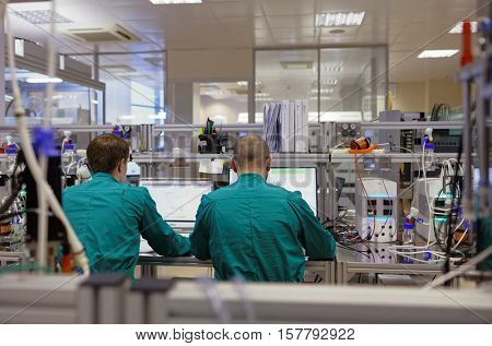ST. PETERSBURG, RUSSIA - NOVEMBER 16, 2016: Researchers at work in the High-Throughput Biotechnology Laboratory of BIOCAD. It is one of the few full-cycle drug development and manufacturing companies