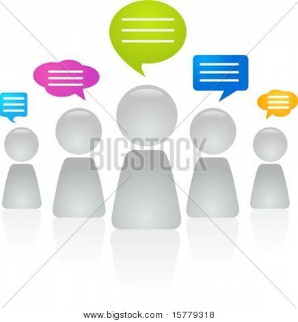 Abstract figures with speech bubbles