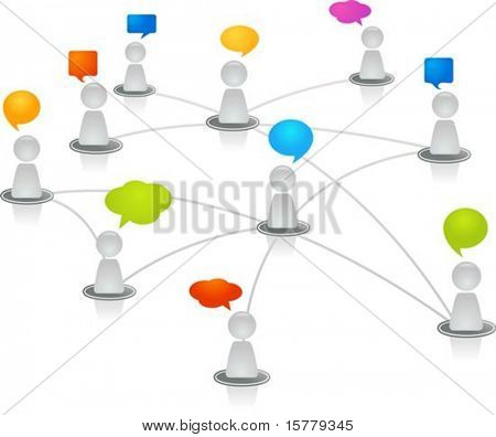 Abstract human figures connected in a network