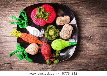 Crochet vegetables on a plate - eco toys for children and kitchen decor