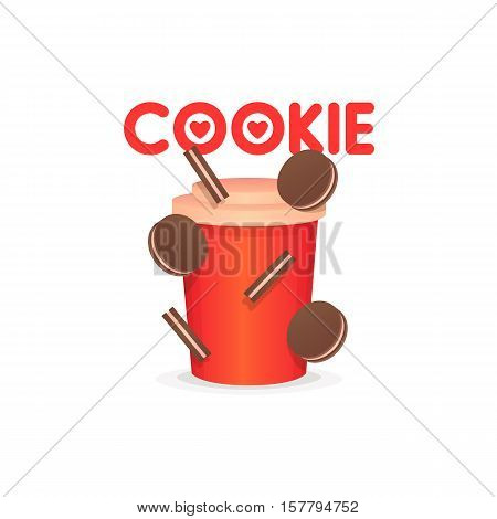 Cookie sweet, confectionery banners, labels, logos. Vector