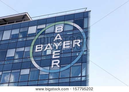 Lyon, France - October 20, 2016: Bayer building and office. Bayer is a German multinational chemical and pharmaceutical company founded in Barmen, Germany