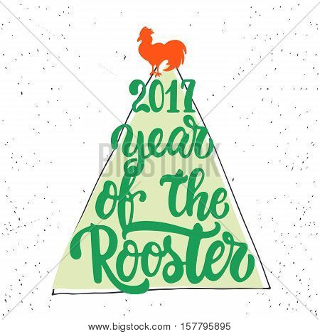 Christmas and New Year lettering calligraphy greeting card with 2017 year of the red fire rooster. Cock silhouette on the top of illustration. Symbol of christmas tree from letters.