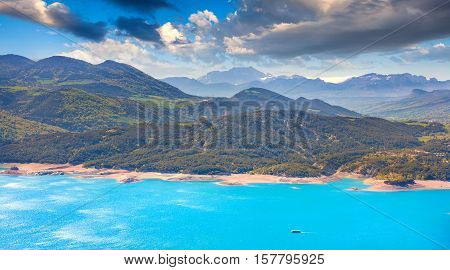 Beautiful panorama of lake Serre-Poncon Alps France.