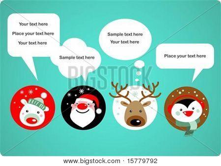 Santa Claus, Rudolph, polar bear and penguin with speech bubbles
