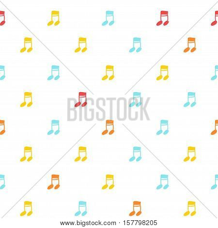 Vector hand drawn cartoon seamless pattern with note. Melody song theme. Colored note pattern for paper textile polygraphy game web design