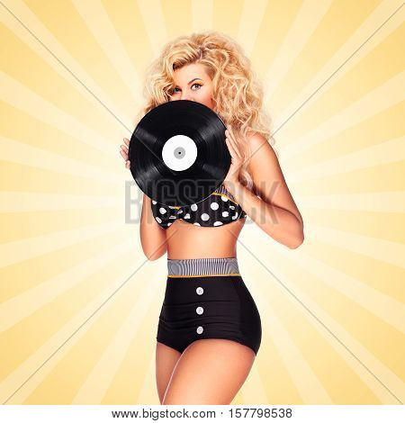 Beautiful pinup bikini model holding an LP vinyl record on colorful abstract cartoon style background.