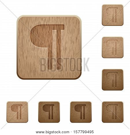 Text paragraph icons in carved wooden button styles