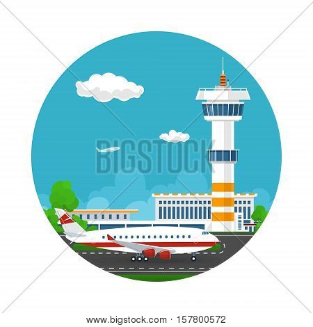 Arrivals at Airport, Icon Control Tower and Airplane on the Background of the City, Travel and Tourism Concept , Air Travel and Transportation, Vector Illustration