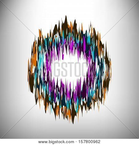 Stylized striped colorful shape vector design element.