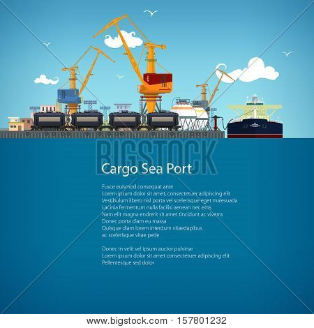 Unloading Oil or Liquids from the Tanker Ship, Sea Freight Transportation, Cargo Transport, Port Warehouses and Cranes and Railway Tank Cars, Poster Brochure Flyer Design, Vector Illustration