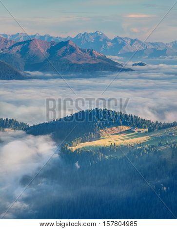 Foggy Summer Morning In The Val Gardena Valley.