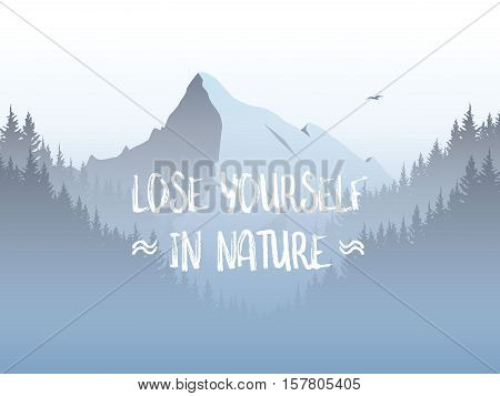 Mountain and forest landscape vector illustration with foggy and haze mountains valley. Eps10 vector illustration.
