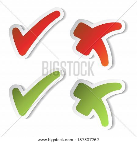Vector check mark stickers on white background - illustration