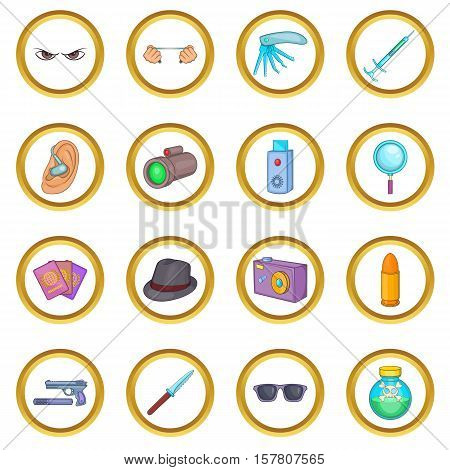 Spy and security vector set in cartoon style isolated on white background