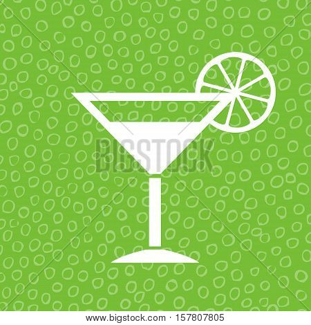 Lime cocktail icon vector illustration isolated on green bubble background