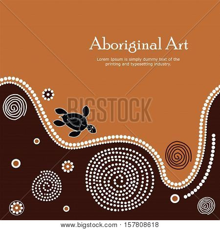Aboriginal art vector Banner with text illustration.