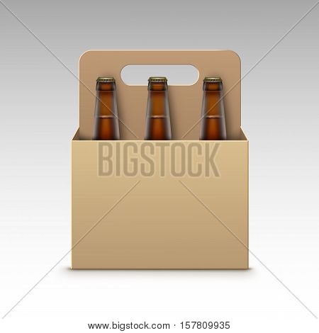 Vector Closed Blank Glass Transparent Brown Bottles of Light Dark Beer with Carton Packaging for Branding Close up Isolated on White Background