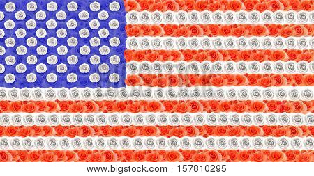 Floral design of USA flag made of roses
