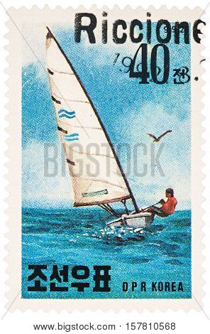MOSCOW RUSSIA - NOVEMBER 21 2016: A stamp printed in DPRK (North Korea) shows sailing yacht in the sea series