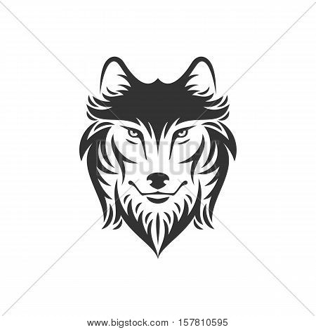 Dog or wolf head logo or icon in one color. Stock vector illustration. Business sign template.