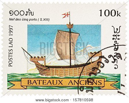 MOSCOW RUSSIA - NOVEMBER 18 2016: A stamp printed in Laos shows ancient (13th-century) sailing ship series