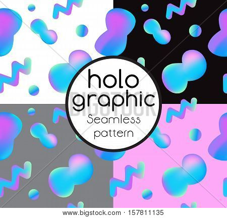 Trend seamless set illustration holographic neon bright fluid on colorful background