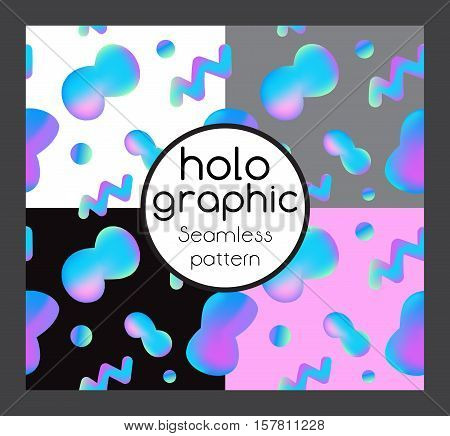 Seamless illustration set holographic neon bright fluid on colorful background