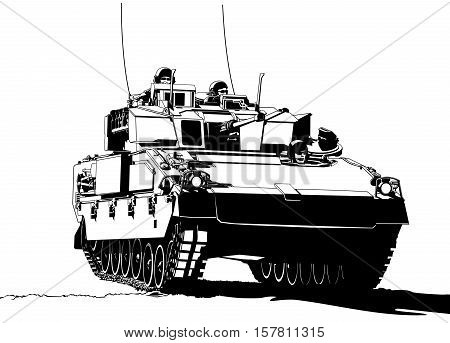 Armored personnel carrier vehicle military illustration art vector.
