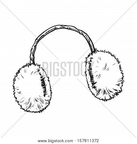 Bright fluffy fur ear muffs, sketch style vector illustrations isolated on white background. Hand drawn fluffy ear warmers, ear muffs made of fur, winter accessory