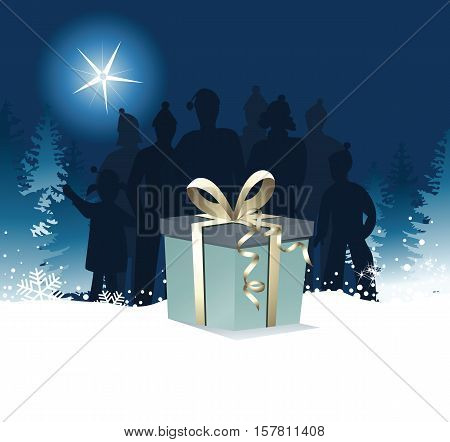 Christmas background with big gift - vector illustration