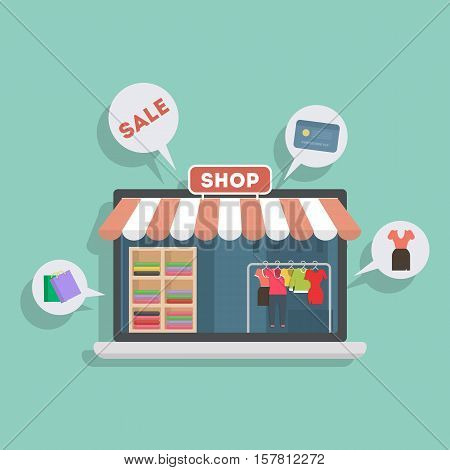 Isolated clothing store in laptop. Storefront with sign of sales, and credit card. Concept of online shopping.
